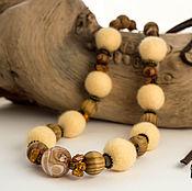 Украшения ручной работы. Ярмарка Мастеров - ручная работа Бусы-трансформер из шерсти и натуральных камней. Handmade.