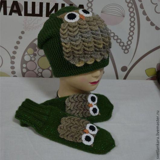 """Шапки ручной работы. Ярмарка Мастеров - ручная работа. Купить Шапка """"Сова в лесу"""". Handmade. Тёмно-зелёный, вязаная шапка"""