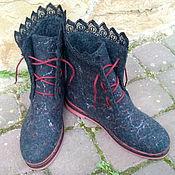 Обувь ручной работы. Ярмарка Мастеров - ручная работа Демисезонные шерстяные эко ботиночки Каролька. Handmade.