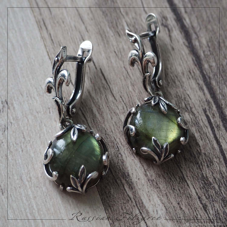 Silver earrings 'Lina' natural labradorite (5,65 g), Earrings, Kostroma,  Фото №1