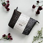 handmade. Livemaster - original item Cosmetic bag with zipper pocket Croco-7. Handmade.