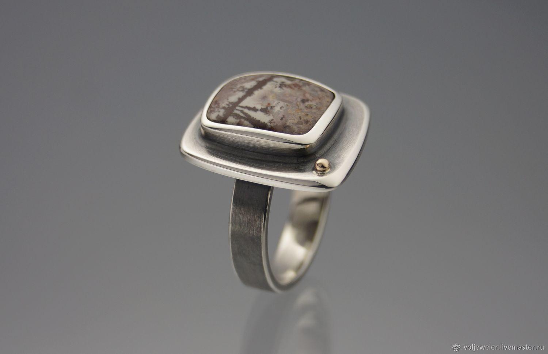 Кольцо ручной работы из серебра с добавлением золота с яшмой, Кольца, Волгоград,  Фото №1