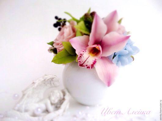 Интерьерные композиции ручной работы. Ярмарка Мастеров - ручная работа. Купить Розовый букет с орхидеей. Холодный фарфор.. Handmade.