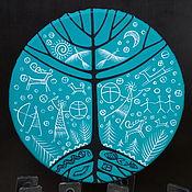 Музыкальные инструменты handmade. Livemaster - original item Three of the world. Vedic turquoise tambourine 35 cm.. Handmade.