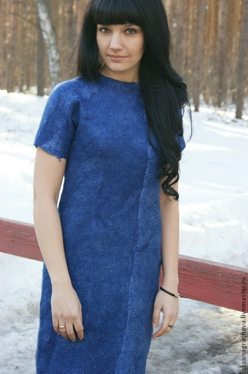Платья ручной работы. Ярмарка Мастеров - ручная работа. Купить Авторское войлочное платье. Handmade. Тёмно-синий, платье валяное