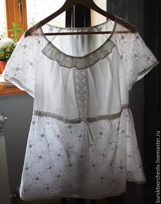 Женская блузка из хлопкового шитья ( на фото размер 58)