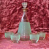 Винтаж ручной работы. Ярмарка Мастеров - ручная работа Графин и рюмки с напылением . Винтажный набор стеклянной посуды. Handmade.