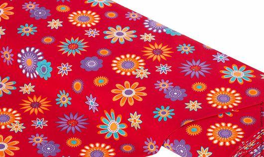 """Шитье ручной работы. Ярмарка Мастеров - ручная работа. Купить 75869 Ткань немецкий хлопок """"Яркие цветы"""". Handmade. Комбинированный"""