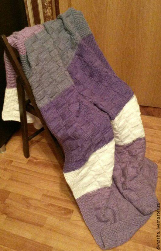 Текстиль, ковры ручной работы. Ярмарка Мастеров - ручная работа. Купить Плед вязаный Композиция. Handmade. Комбинированный, теплый плед