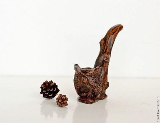 трубка курительная трубка из глины глиняная трубка для курения  сова филин трубка ручной работы Керамика Dilь_art коллекционная трубка подарки для мужчин
