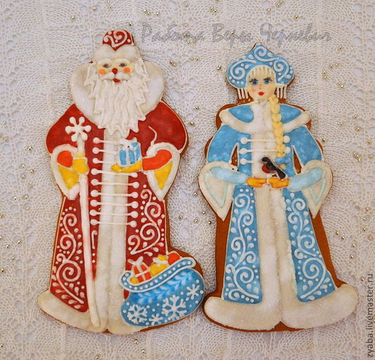 Кулинарные сувениры ручной работы. Ярмарка Мастеров - ручная работа. Купить Пряники дед мороз и снегурочка. Handmade. Пряник