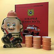 handmade. Livemaster - original item Firefighter with 3 glasses. Fire safety set. Handmade.