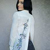 """Одежда handmade. Livemaster - original item Рубашка с вышивкой """"Кошки-мышки"""" оригинальная вышитая рубашка. Handmade."""