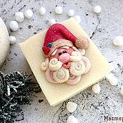"""Новогоднее мыло """"Дед Мороз"""" с ручной лепкой из мыла с нуля"""