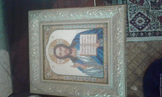 Иконы ручной работы. Ярмарка Мастеров - ручная работа. Купить Икона христа. Handmade. Бисер чешский, багетная рама