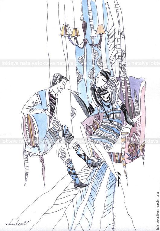 """Люди, ручной работы. Ярмарка Мастеров - ручная работа. Купить Графика""""Разговор с Лаурой"""" авторский стиль.. Handmade. Кремовый, авторская графика"""
