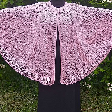 Одежда ручной работы. Ярмарка Мастеров - ручная работа Ажурное женское пончо розового цвета. Handmade.
