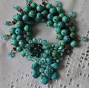 Украшения handmade. Livemaster - original item Copper bracelet with natural turquoise Blue dreams. Handmade.