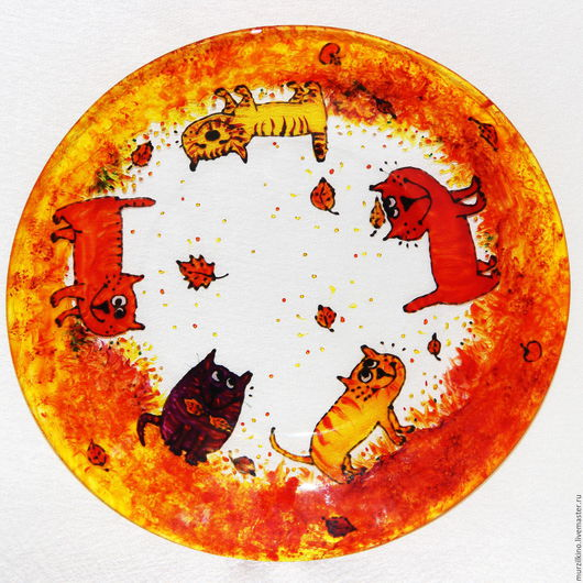 Тарелка Осенние коты