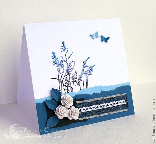 Открытки на все случаи жизни ручной работы. Ярмарка Мастеров - ручная работа. Купить Розы в синем. Handmade. Синий, цветы