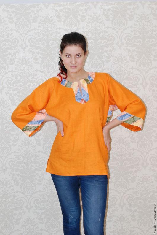 """Блузки ручной работы. Ярмарка Мастеров - ручная работа. Купить Блуза из льна """"Настроение"""". Handmade. Блузка женская, одежда из льна"""