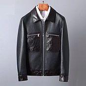 Мужская одежда handmade. Livemaster - original item Men`s jacket, made of genuine leather, in black and brown!. Handmade.