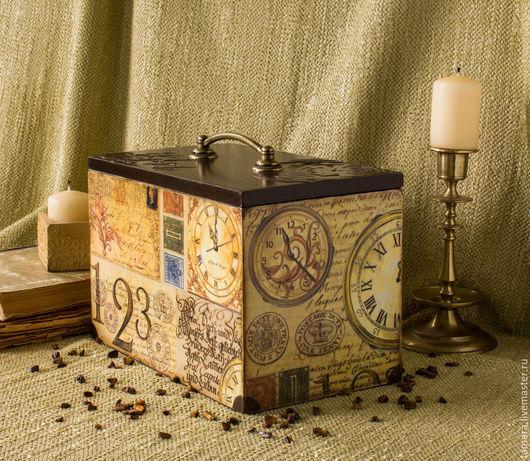 """Корзины, коробы ручной работы. Ярмарка Мастеров - ручная работа. Купить Короб универсальный """"Time"""". Handmade. Разноцветный, коробка для мелочей"""