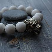 Украшения handmade. Livemaster - original item Large bracelet made of white coral with bronze wolves. Handmade.
