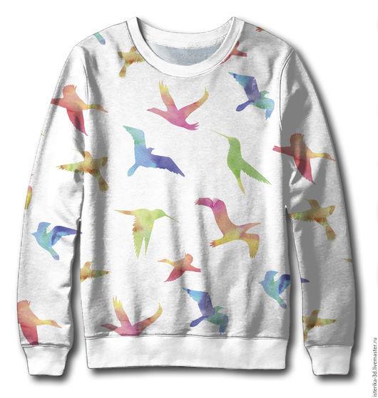 Белый свитшот с акварельными птичками. Петельчатый футер, есть в наличии.