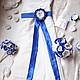 Свадебные цветы ручной работы. Заказать Бело- синий букет из ткани и брошей. Рознер Юлия: Платья\Сумочки\Букеты. Ярмарка Мастеров. Голубой