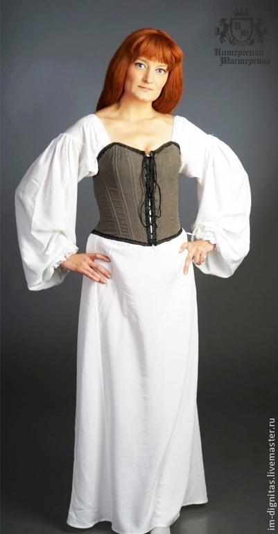 Историческая реконструкция ручной работы. Ярмарка Мастеров - ручная работа. Купить Рубаха нательная женская. Handmade. Белый, нижняя рубаха