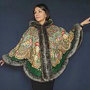 Одежда handmade. Livemaster - original item Poncho made of a scarf with artificial fur. Handmade.