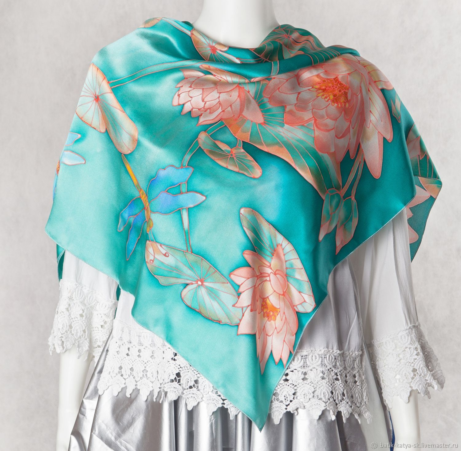 Batik silk scarf 'Lotus and dragonfly', Scarves, Moscow,  Фото №1