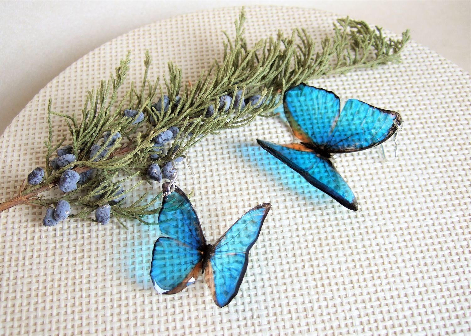 Transparent Earrings Bright Blue Turquoise Fluttering Butterflies No. №2, Earrings, Taganrog,  Фото №1