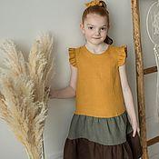 Одежда детская handmade. Livemaster - original item Linen dress for girls with flounces. Handmade.