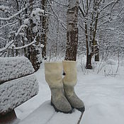 """Обувь ручной работы. Ярмарка Мастеров - ручная работа Сапожки валяные """"Припорошенные снегом"""" резерв. Handmade."""