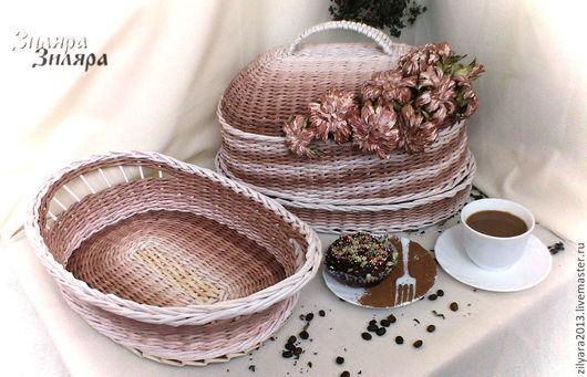 Кухня ручной работы. Ярмарка Мастеров - ручная работа. Купить Плетеный набор для кухни Tiramisu. Handmade. Коричневый, плетеная хлебница