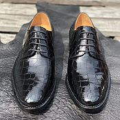 Обувь ручной работы handmade. Livemaster - original item Derby from the abdominal part of crocodile leather, in black color!. Handmade.