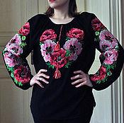 Купальники ручной работы. Ярмарка Мастеров - ручная работа Невероятно красивая женская вышиванка на шифоне Маки. Handmade.