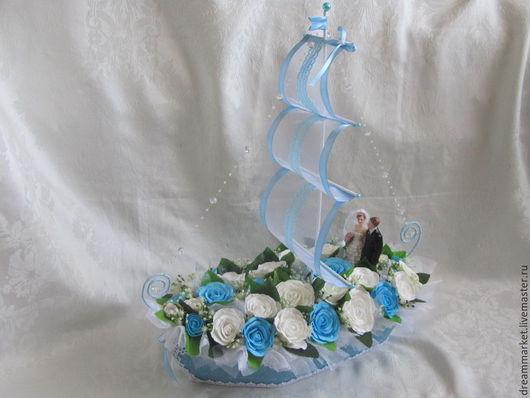 Интерьерные композиции ручной работы. Ярмарка Мастеров - ручная работа. Купить Свадебный корабль. Handmade. Голубой, оригинальный подарок, фоамиран