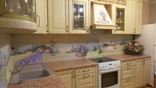 Декор поверхностей ручной работы. Ярмарка Мастеров - ручная работа. Купить Роспись кухонного фартука. Handmade. Разноцветный, роспись лаванда