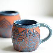 Посуда ручной работы. Ярмарка Мастеров - ручная работа Синие листья. Handmade.