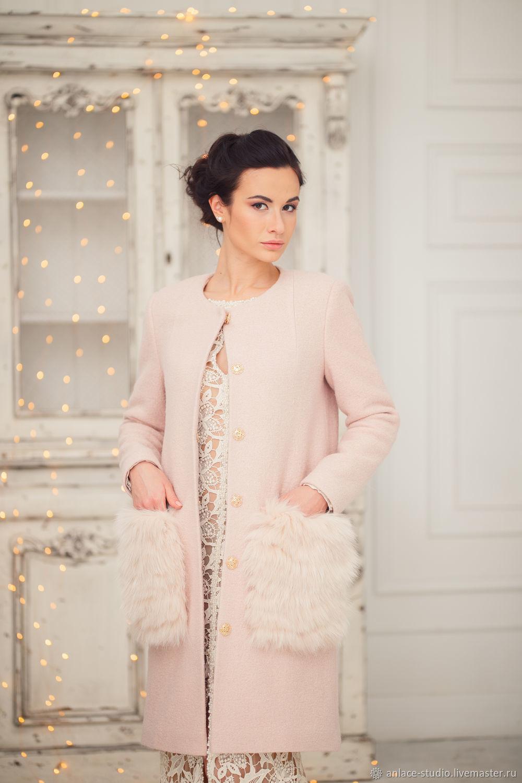 Свадебное Пальто Розовое Пальто с Мехом «Жасмин Пудра», Накидки, Москва,  Фото №1
