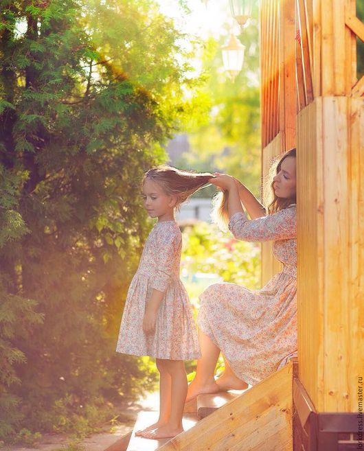 Платья ручной работы. Ярмарка Мастеров - ручная работа. Купить Платья для мамы и дочки. Handmade. Кремовый, молочный, familylook