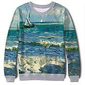 Свитшот с картиной Ван Гога «Морской пейзаж в Сен-Мари»