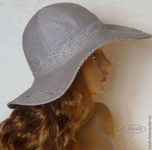 """Шляпы ручной работы. Ярмарка Мастеров - ручная работа. Купить Шляпа """"Элегантное лето"""" серая (лён). Handmade. Серый, море"""