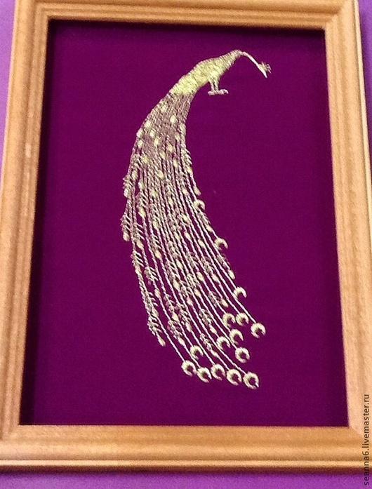 """Фэнтези ручной работы. Ярмарка Мастеров - ручная работа. Купить Картинка вышитая, картина, панно """"Золотая Жар-птица"""". Handmade."""