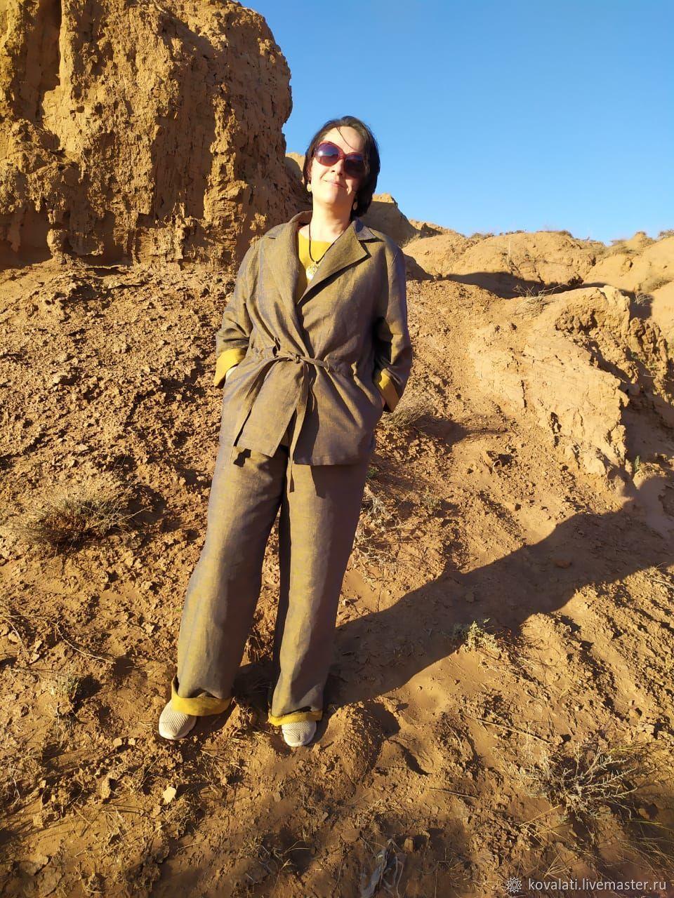 Костюм-пижама из льна с хлопком с эффектом тафты. Золото, Костюмы, Астрахань,  Фото №1