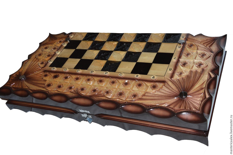 шахматы нарды шашки деревянные резные 3 в 1 купить в интернет