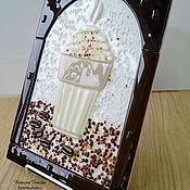 Для дома и интерьера ручной работы. Ярмарка Мастеров - ручная работа Панно из стекла Кофе французский, фьюзинг, 30х20 см. Handmade.